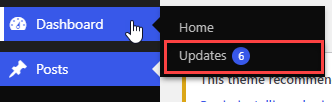 การไปหาหน้า Updates ของ WordPress